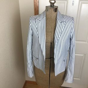 Express Blue & White Striped Blazer